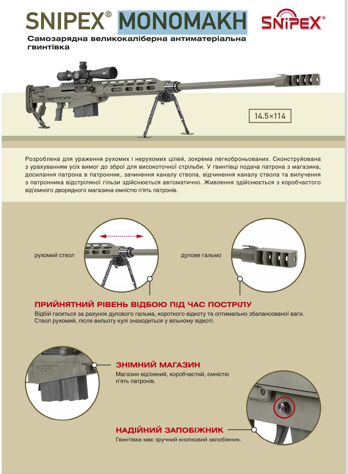 Нова самозарядна антиматеріальна гвинтівка Snipex MONOMAKH незабаром піде на державні випробування (фото)
